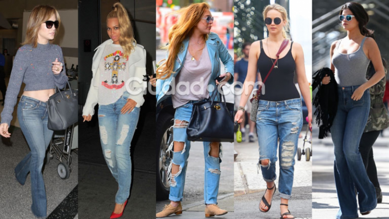 J-Lo, Beyonce, Lindsay Lohan, Jennifer Lawrence y Selena, en jean (Fotos: Grosby Group).