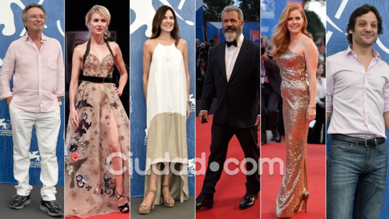 Oscar Martínez, Frigerio y De la Serna junto a estrellas top en el Festival de Venecia. (Fotos: AFP)