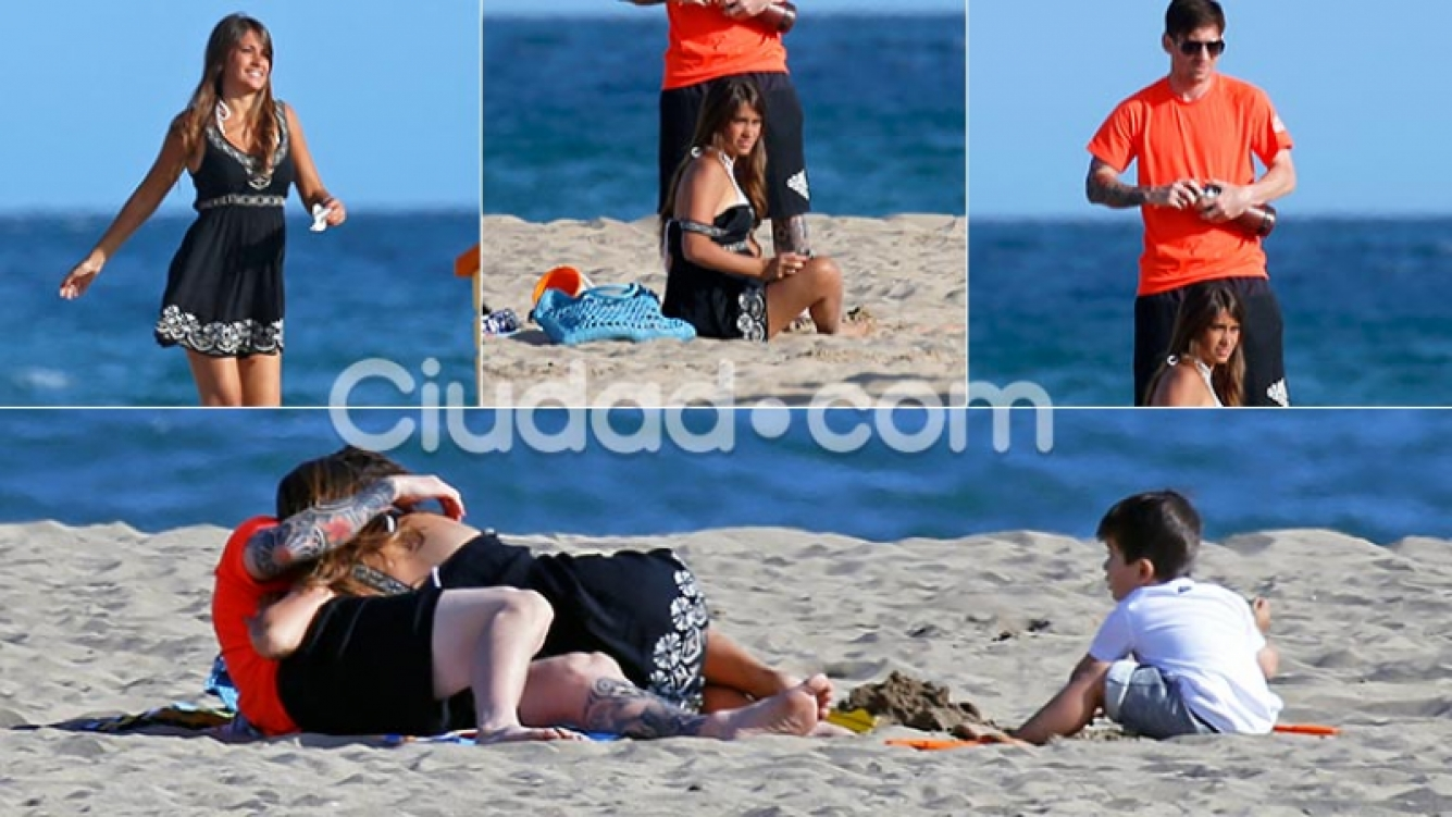 Leo Messi, Antonella y Thiago en las playas de Barcelona. (Foto: Grosby Group)