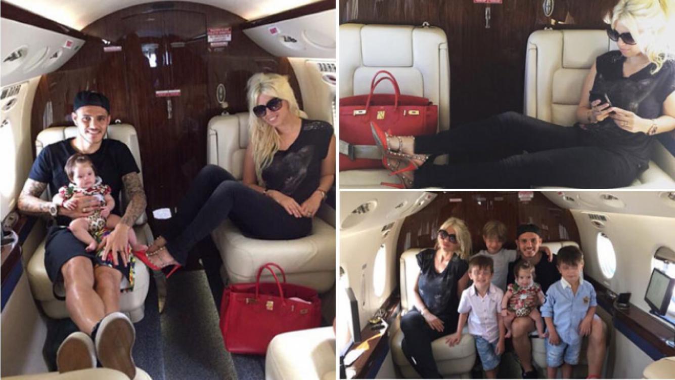 Wanda Nara y Mauro Icardi viajaron en avión privado a Ibiza, junto a sus hijos. (Foto: Instagram.com/wanditanara/)