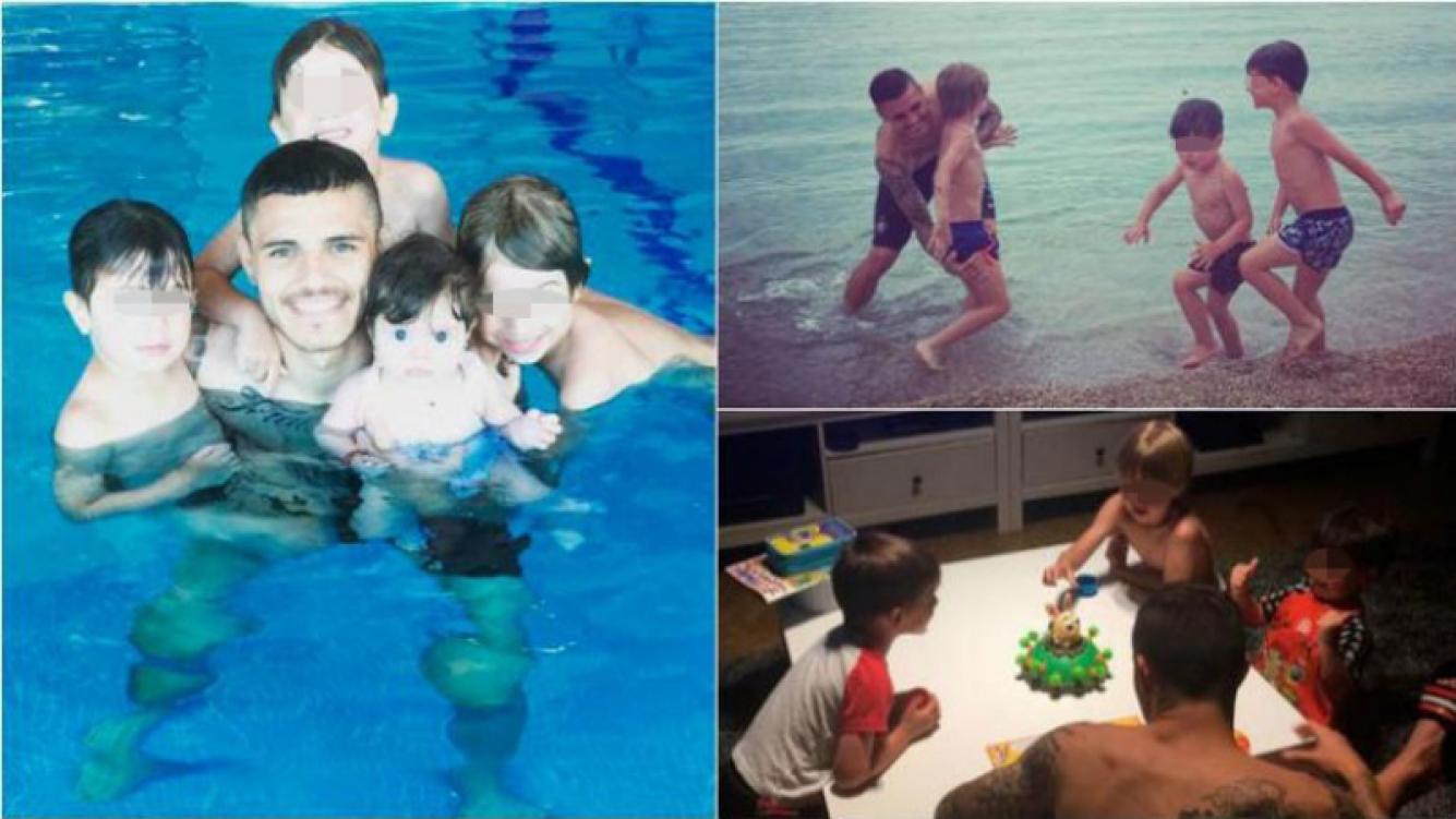 Mauro Icardi se divierte con los hijos de Wanda Nara y Maxi López. Foto: Twitter/ Instagram
