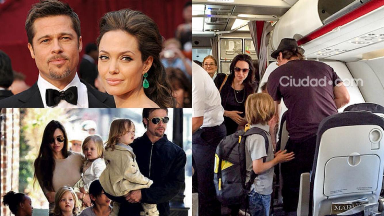 Angelina Jolie, Brad Pitt y sus hijos en clase turística (Fotos: Grosby Group y Web).
