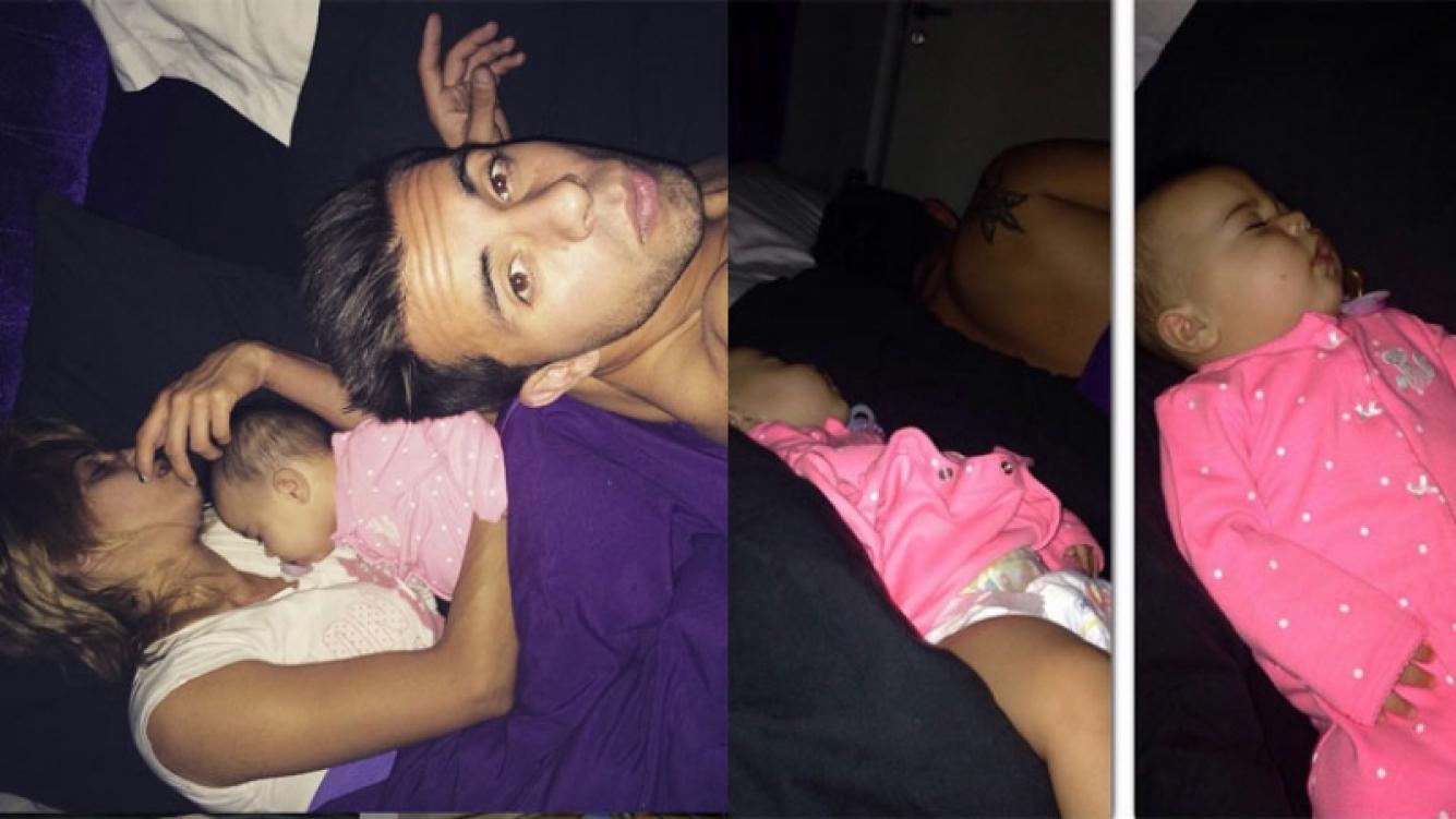 Cinthia Fernández, Defederico y Francesca en la cama (Fotos: Instagram).