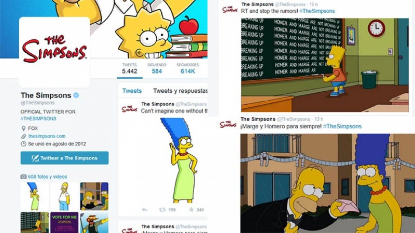 Desde la cuenta de Twitter de Los Simpson desmintieron divorcio de Homero y Marge.