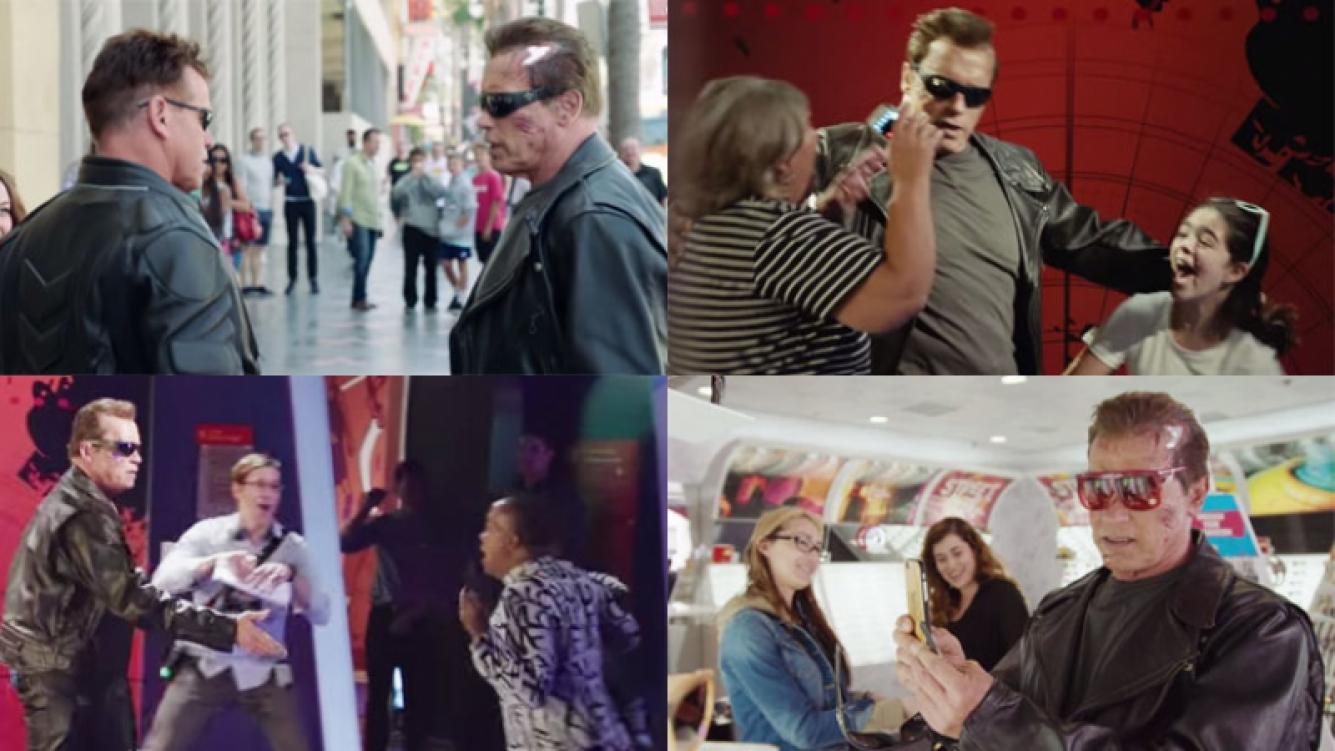 Arnold Schwarzenegger y la sorpresa de la gente al cruzárselo (Fotos: Capturas).