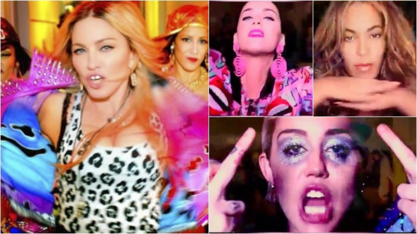 Madonna lanza su multiestelar videoclip con Beyonce, Miley Cyrus y Katy Perry.