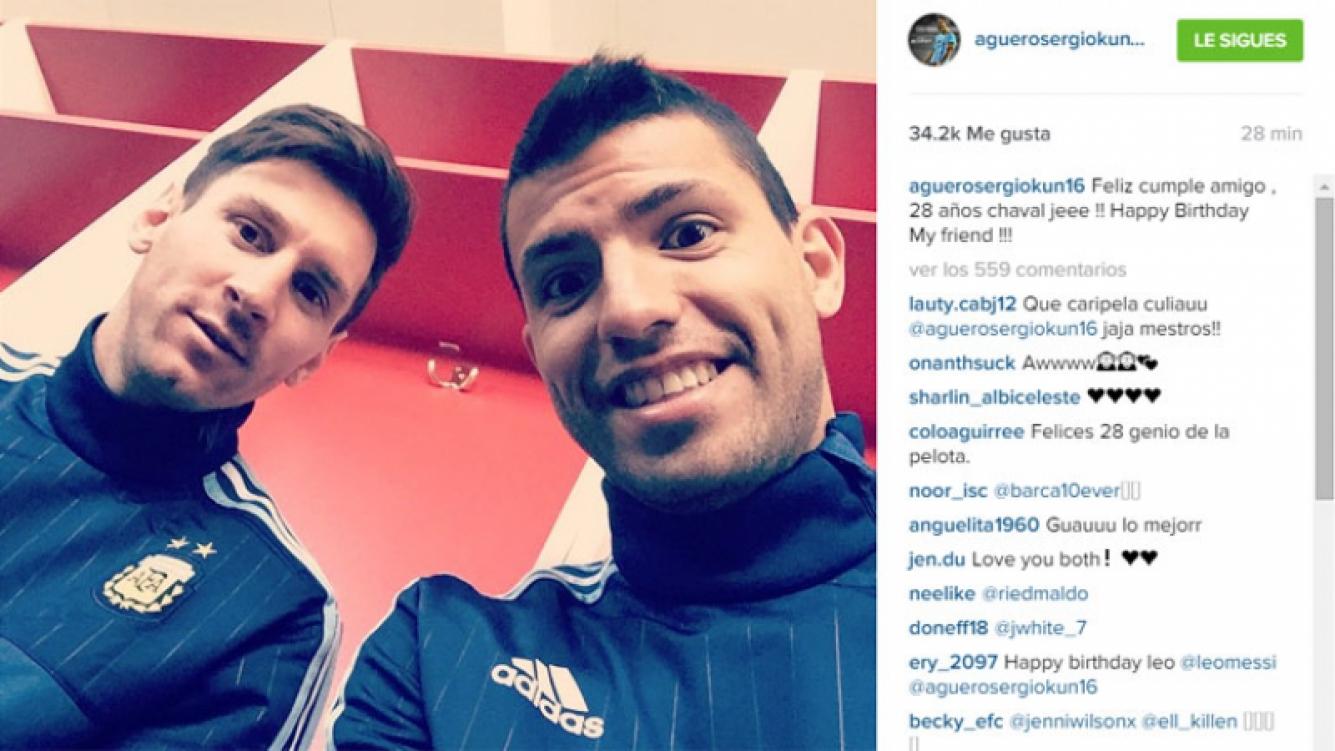 """El saludo de cumpleaños """"bilingüe"""" del Kun Agüero a Lionel Messi. (Foto: Instagram)"""