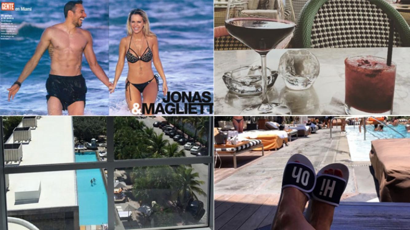 Alejandra Maglietti y Jonás Gutiérrez, mimosos en sus primeras vacaciones en Miami (Foto: Revista Gente e Instagram)