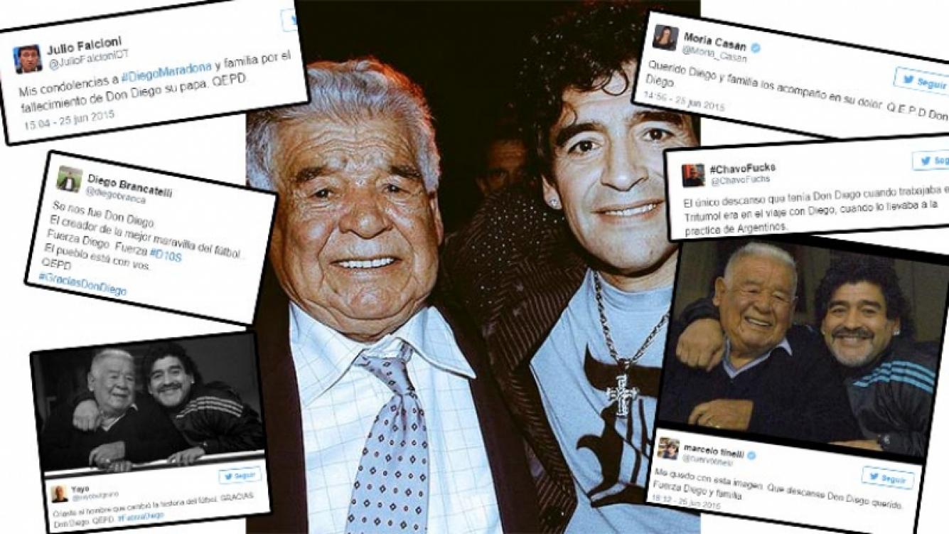 Los tweets de los famosos por la muerte de Don Diego Maradona. Fotos: Web y Twitter.