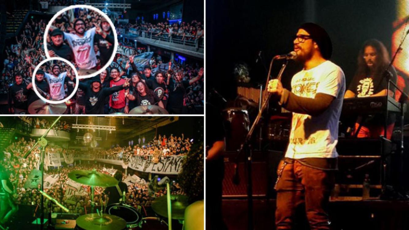 Tras el faltazo a Tribunales, Daniel Osvaldo cantó en el escenario con La 25. (Foto: Twitter)