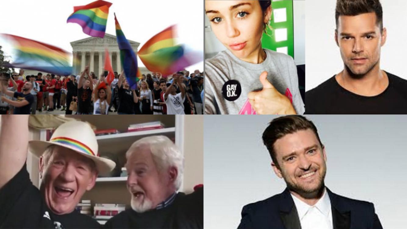 Los famosos celebraron el matrimonio igualitario en Estados Unidos Fotos: Web.