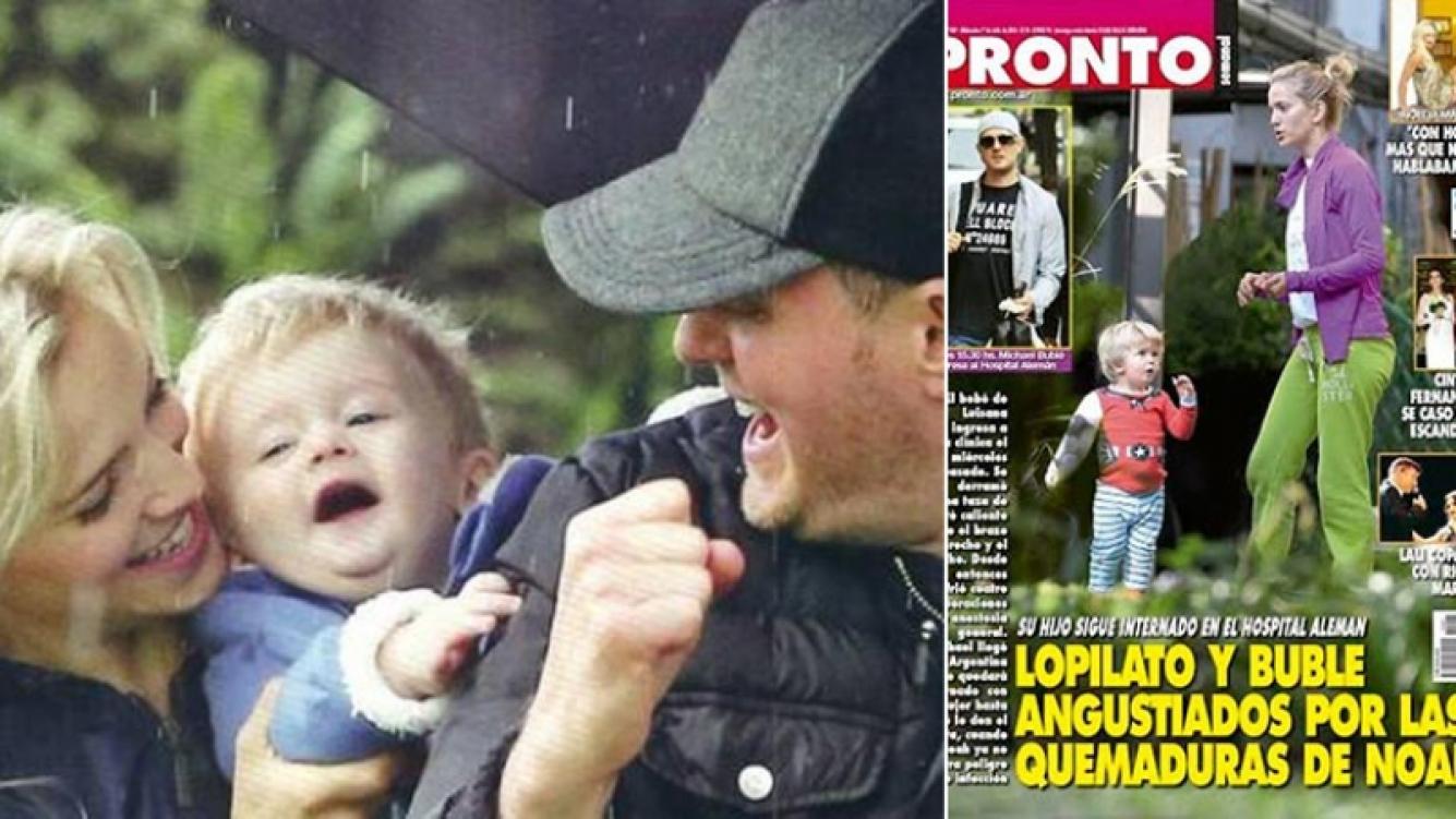 Luisana y Bublé, preocupados por su hijo Noah. Fotos: Web y Pronto.