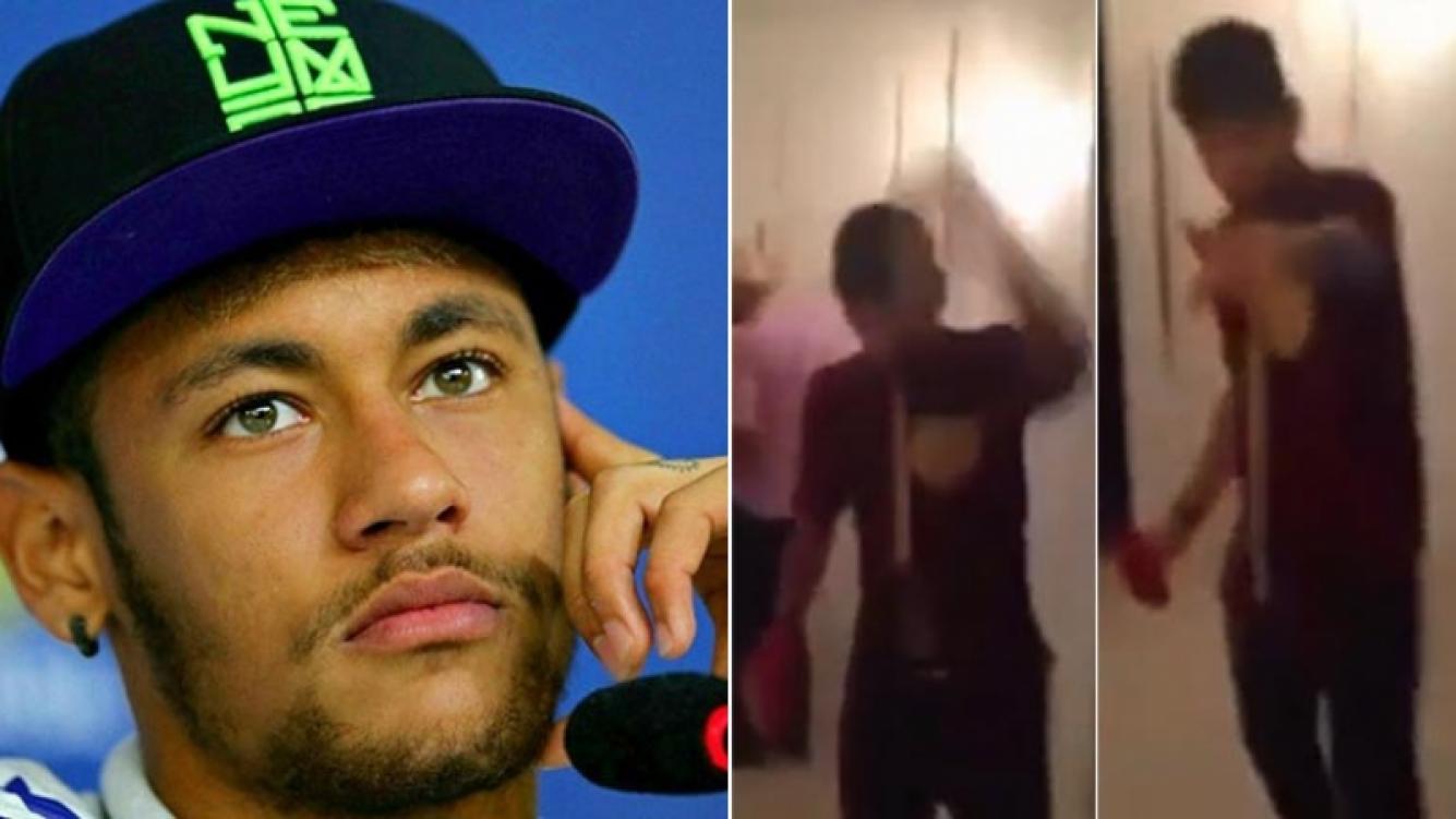 Neymar fue escrachado en una fiesta privada. Fotos: Web y Captura Video.