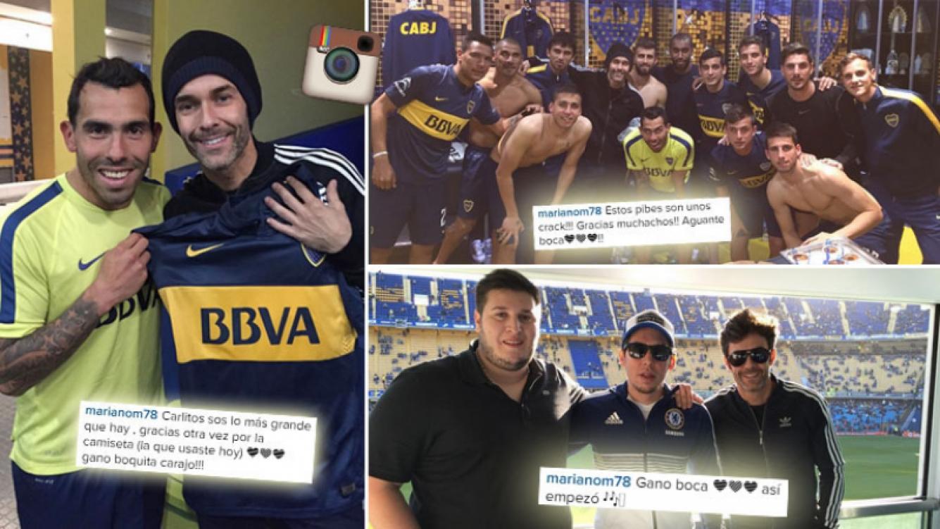 Mariano Martínez y su encuentro con Tevez en el vestuario de la Bombonera. (Foto: Instagram)