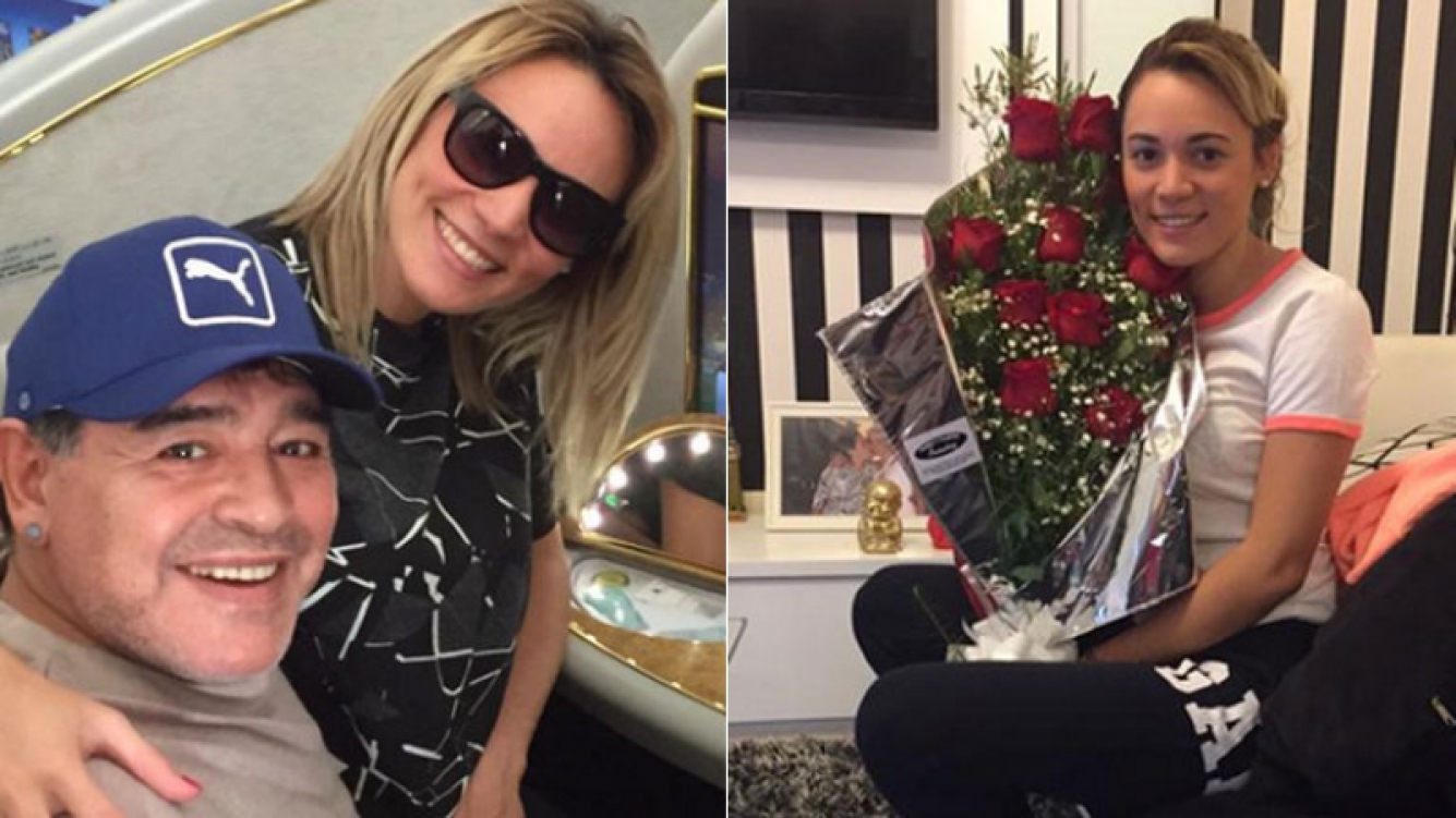 Rocío Oliva recibió flores de Maradona (Foto: Twitter)