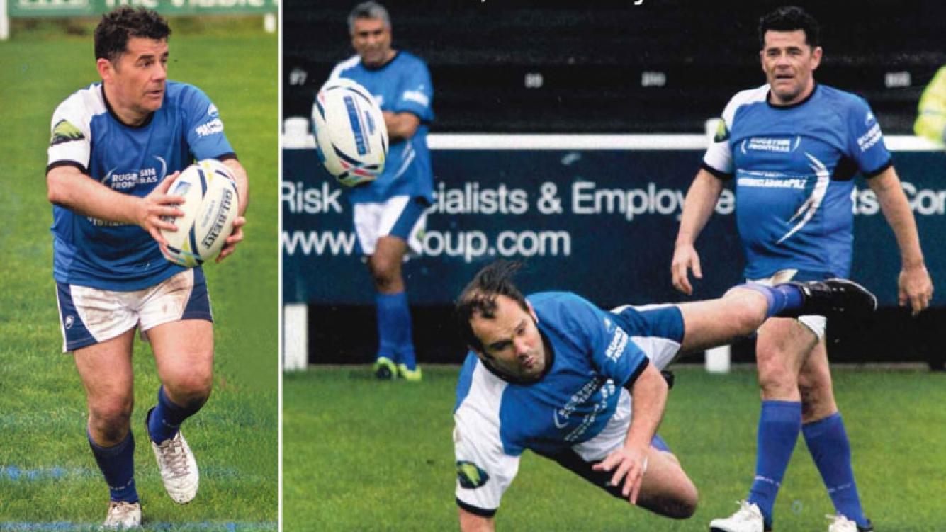 Julián Weich se animó a enfrentar a los grandotes del rugby en el Partido por la Paz. Foto: revista Gente