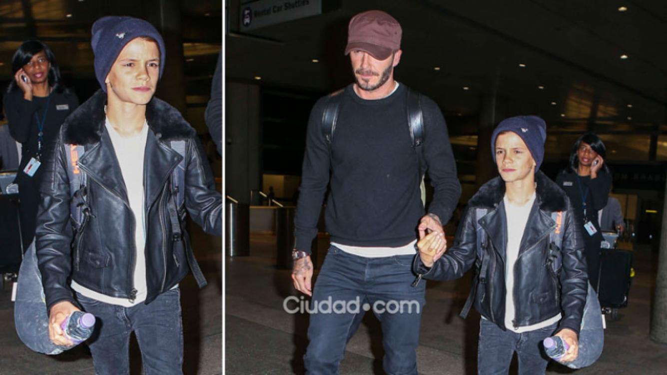 David Beckham, un padre top junto a su hijo fashionista Romeo. Foto: Grosby Group