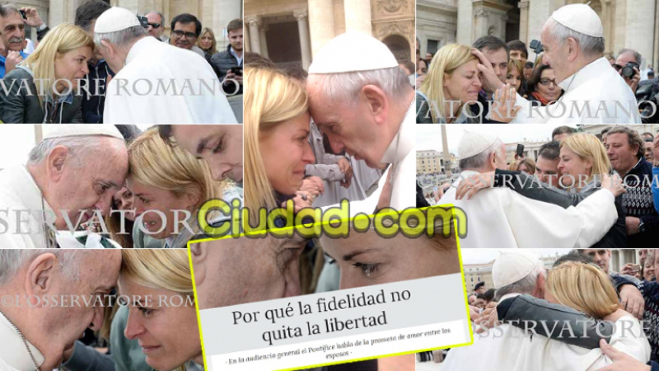 La secuencia del encuentro entre el papa Francisco y Eugenia Tobal. (Fotos: L' Osservatore romano y Facebook)