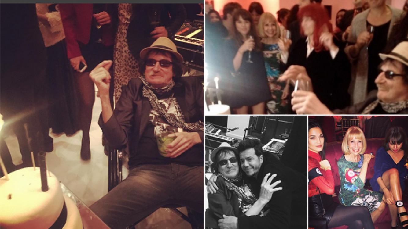 Charly festejó sus 64 con amigos. Fotos: Twitter e Instagram.