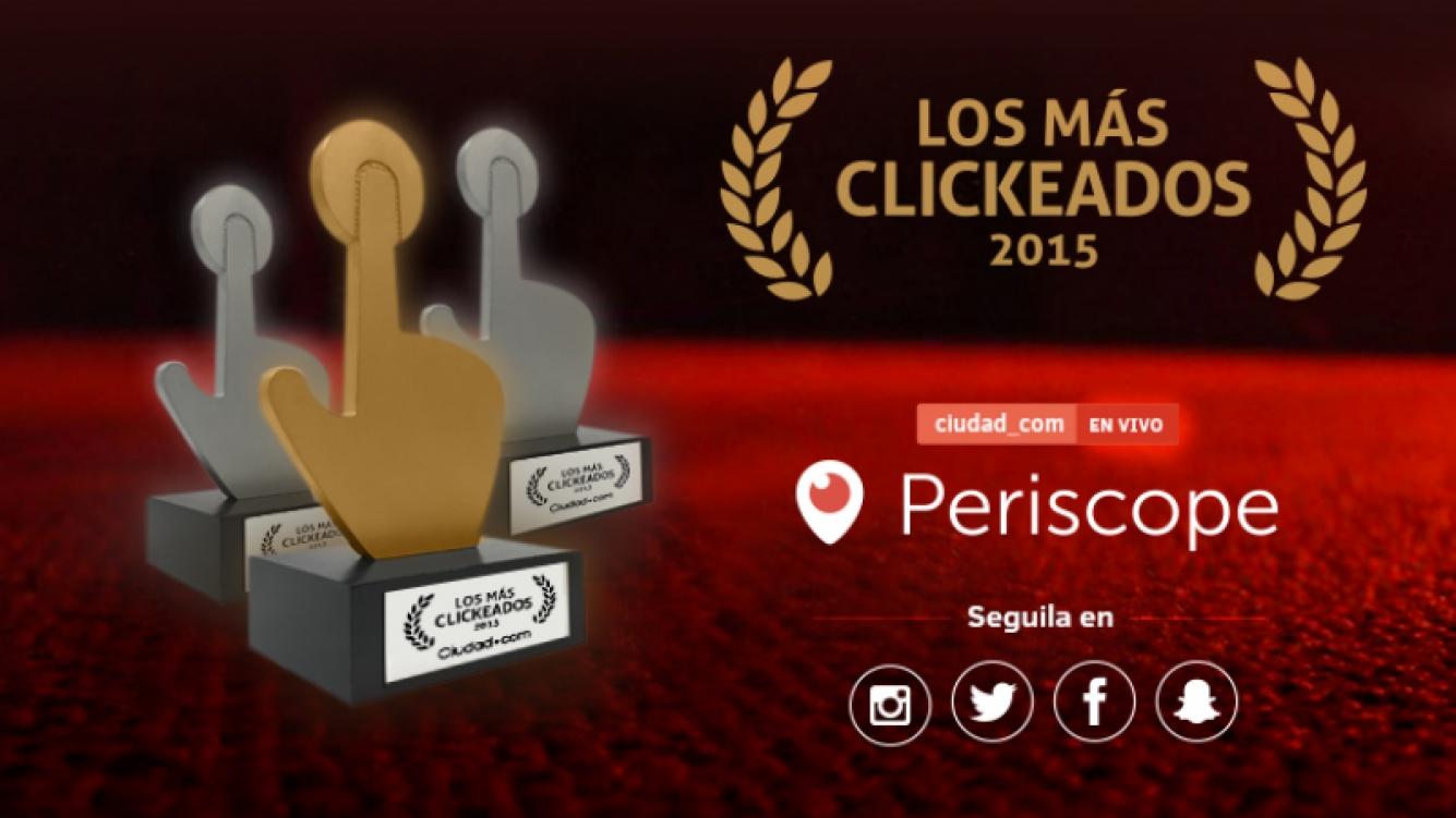 Seguí en vivo la entrega de #LosMásClickeados2015 de Ciudad.com: todos los famosos premiados y por dónde mirarla