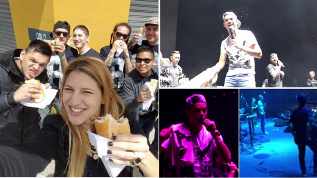 Brian Lanzelotta tocó en el Luna Park con Olinda, su banda. Fotos: Twitter y capturas YouTube.