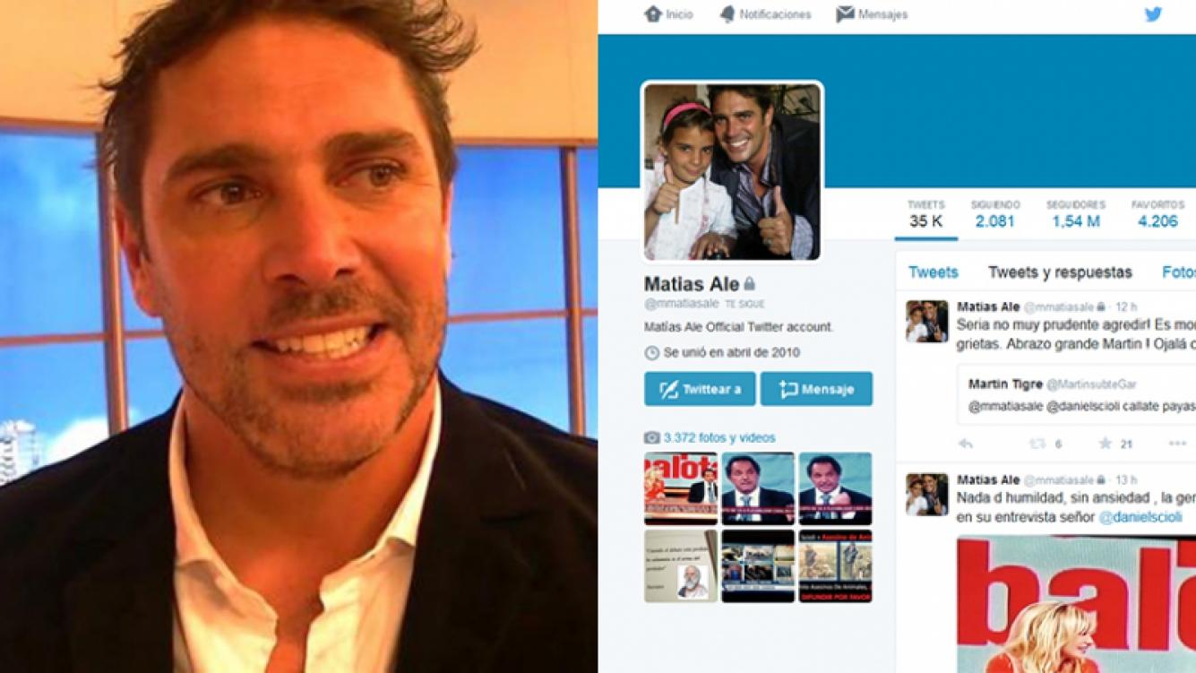 Matías Alé protegió sus tweets tras el escándalo. Fotos: Web y Twitter.