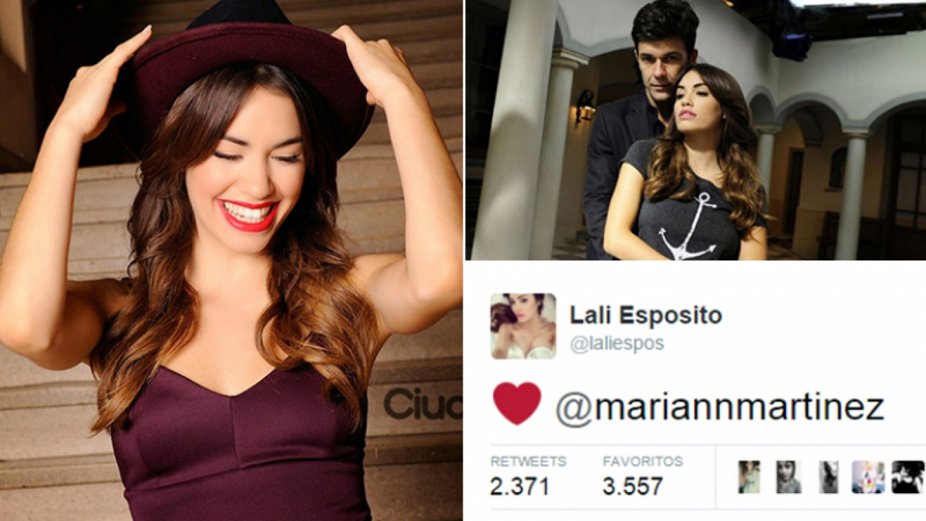 Lali Espósito y su corazón para Mariano Martínez. Fotos: Ciudad.com y Twitter.
