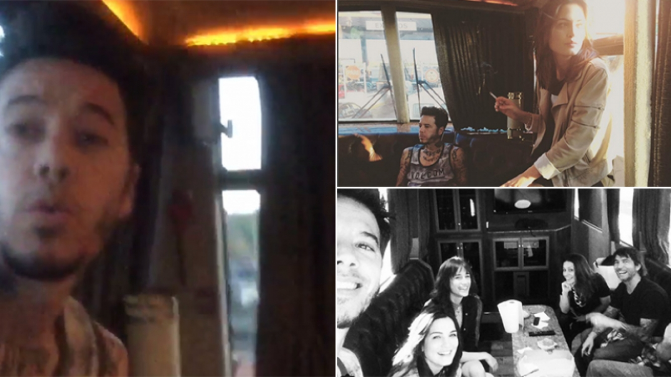 Sebastián Ortega, su novia y sus amigos viajaron en motorhome a ver a Pearl Jam. Fotos: Instagram.