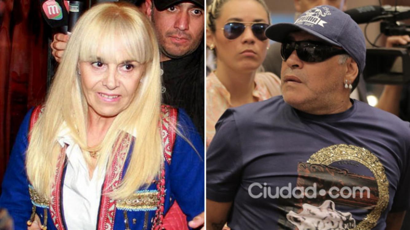 Claudia Villafañe y Diego Maradona, en juicio por estafa. (Foto: Web y AFP)