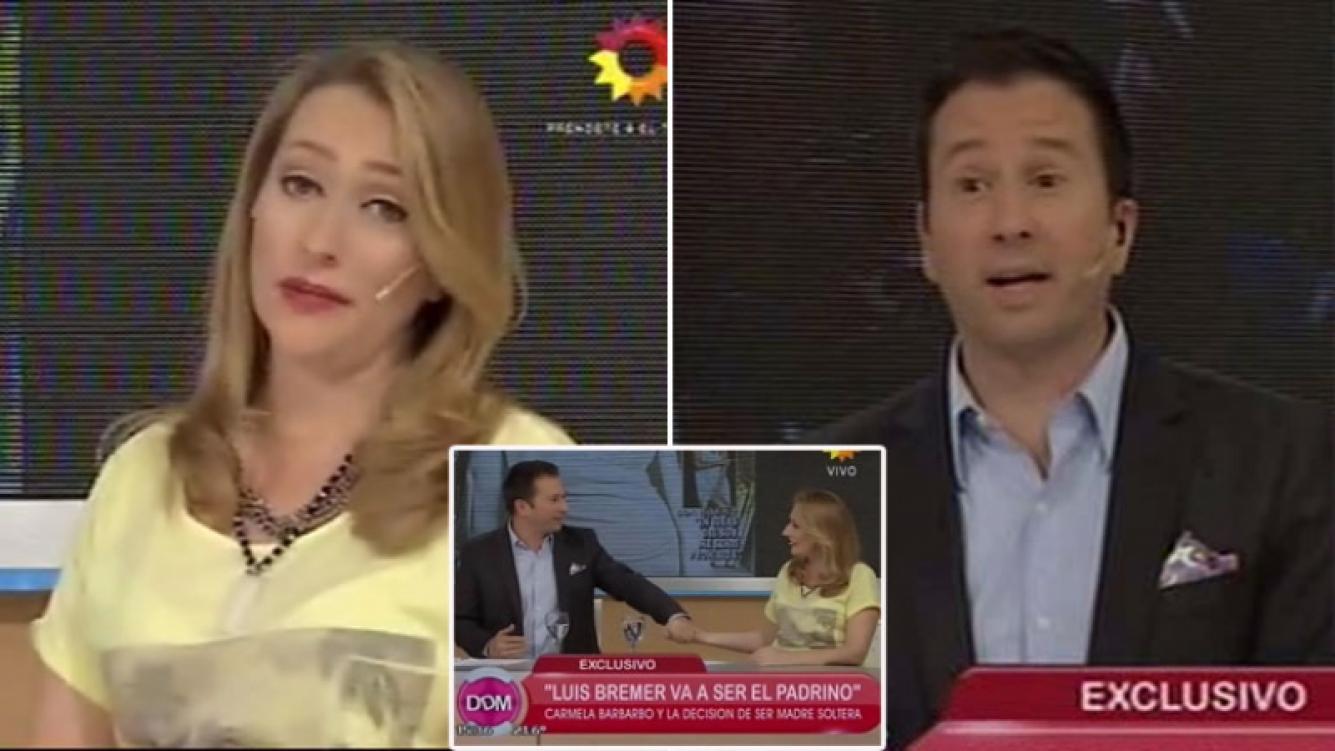 Carmela Bárbaro le ofreció ¡al aire! a Luis Bremer ser el padrino de su hijo. Captura de TV