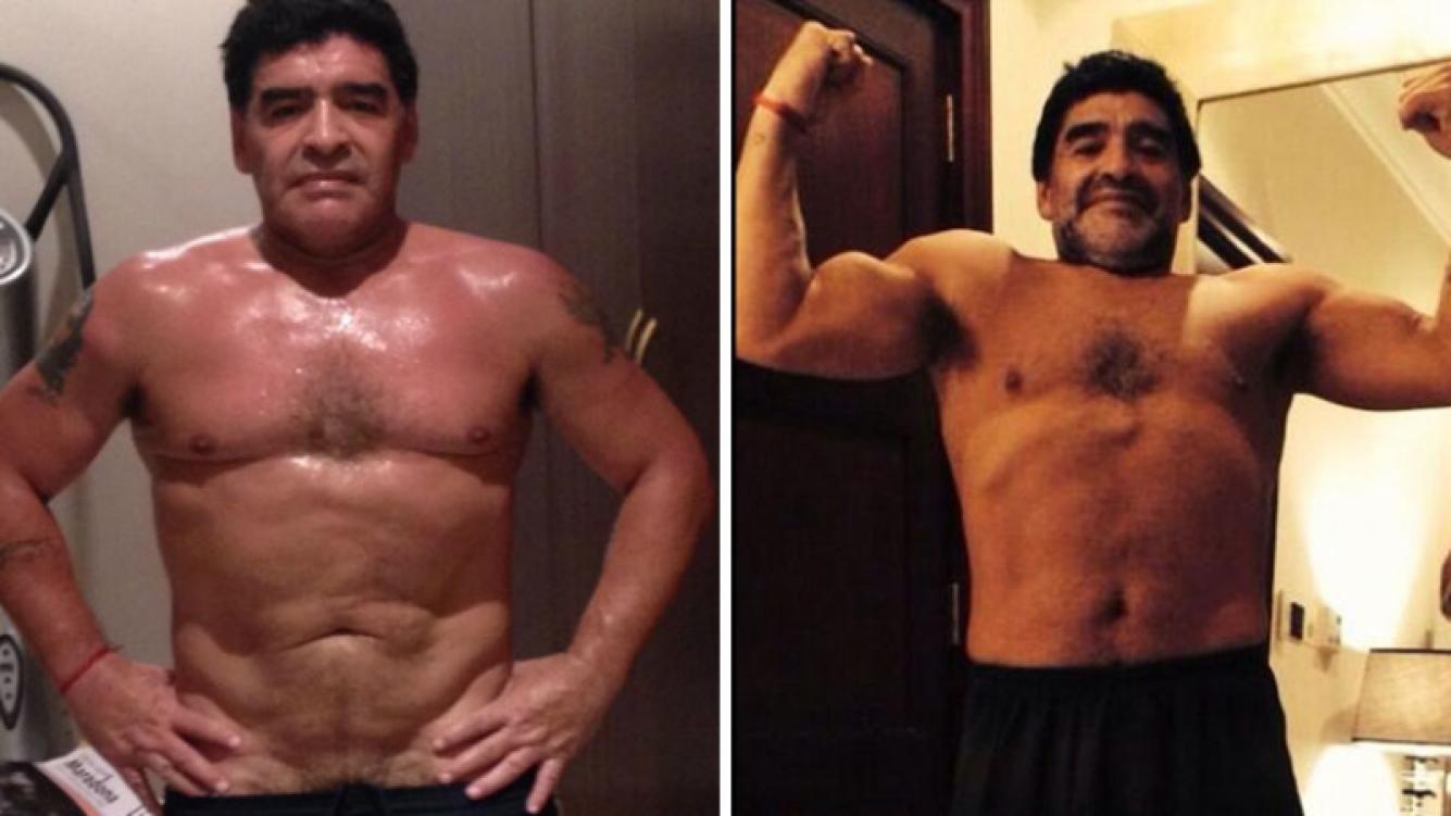 Maradona ya bajó 8 kilos tras el reajuste de su by pass gástrico. Foto: Web