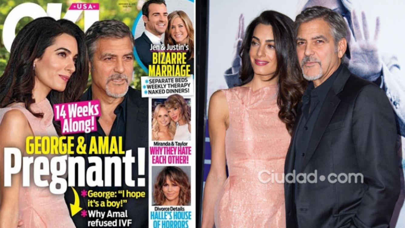 Ok! Magazine asegura que George Clooney y Amal Alamuddin esperan su primer hijo. (Foto: Ok! Magazine y AFP)
