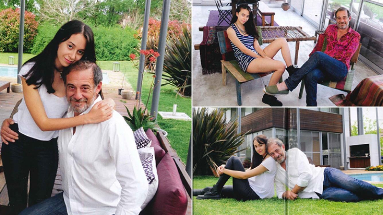 Alejandro Awada posó con su hija en su casa. Fotos: revista Caras.