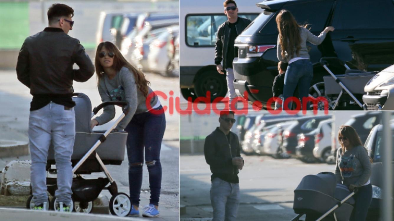 Messi, con Antonella Roccuzzo y sus hijos Mateo y Thiago. Fotos: Grosby Group.