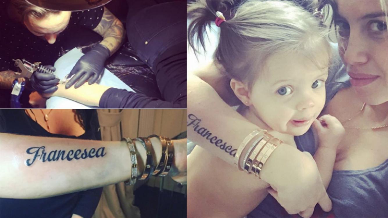 Wanda Nara se tatuó el nombre de su hija Francesca en el antebrazo (Foto: Instagram)