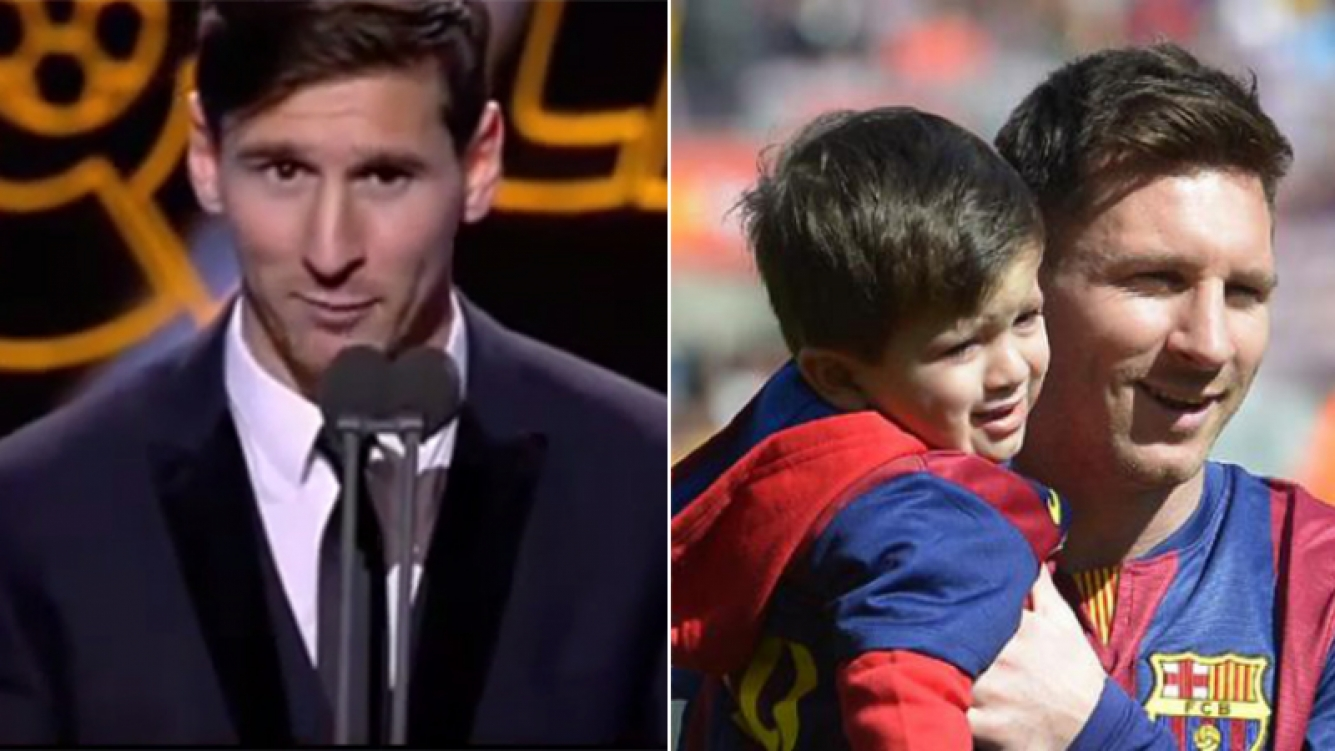 La tierna dedicatoria de Messi para su hijo Thiago. Fotos: YouTube y Web.