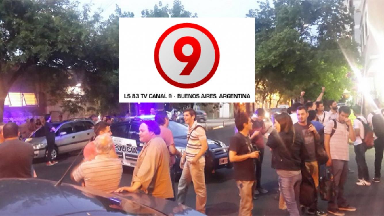 Amenaza de bomba en Canal 9. Foto: Twitter @nildasarli.