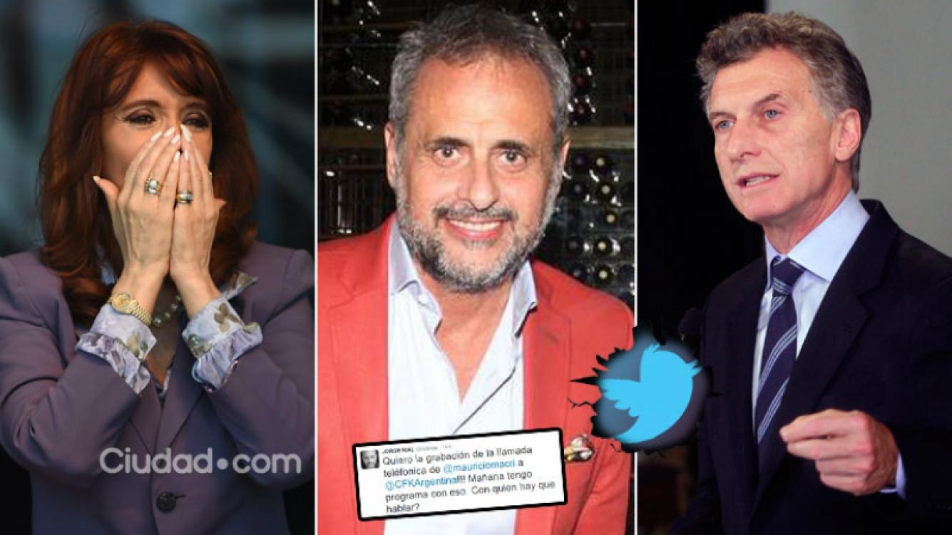 El pícaro tweet de Rial sobre el llamado telefónico de Macri a Cristina. Foto: AFP y Web