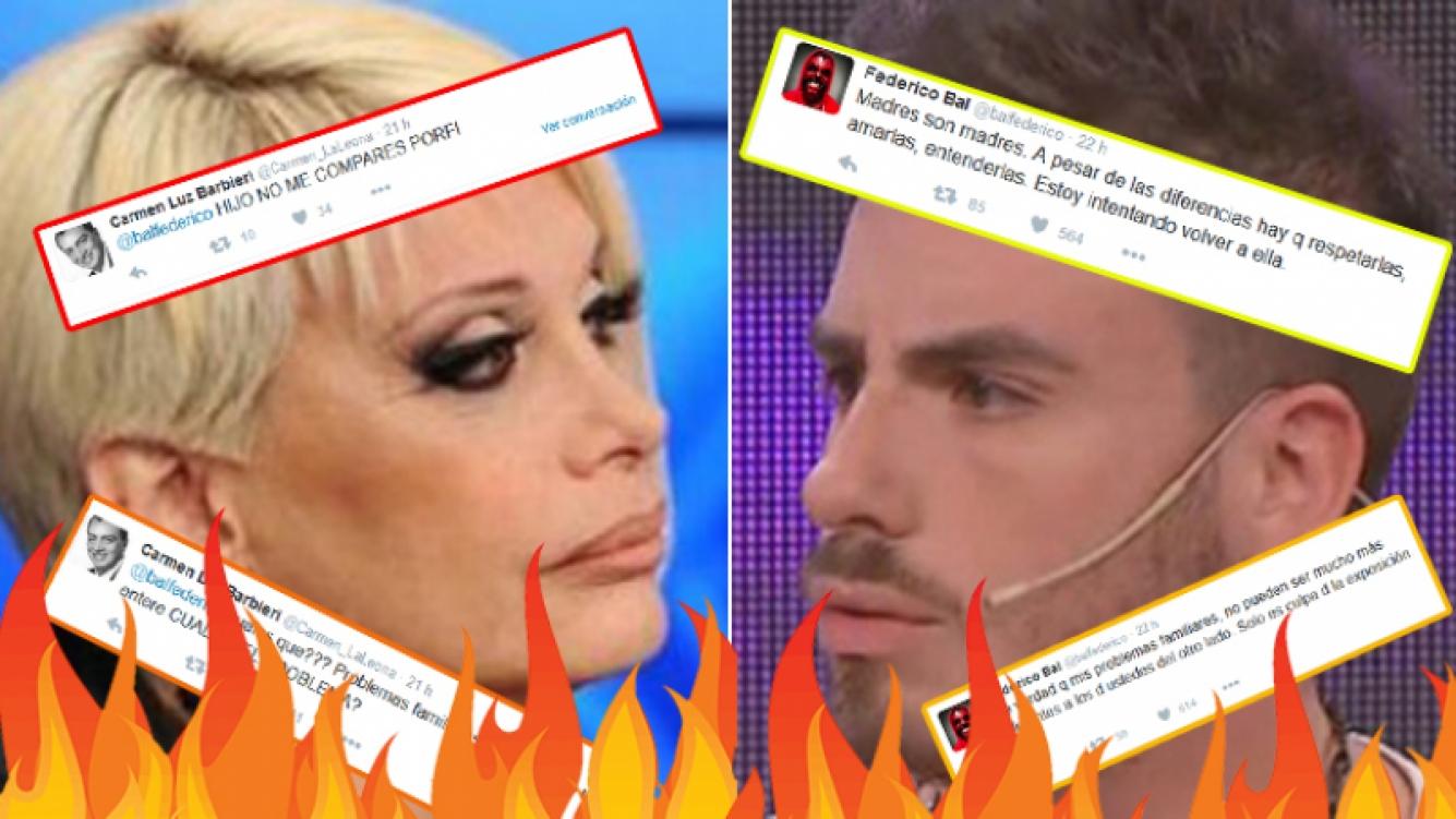 Carmen Barbieri contraatacó a Fede Bal en Twitter. Fotos: Twitter y Web.