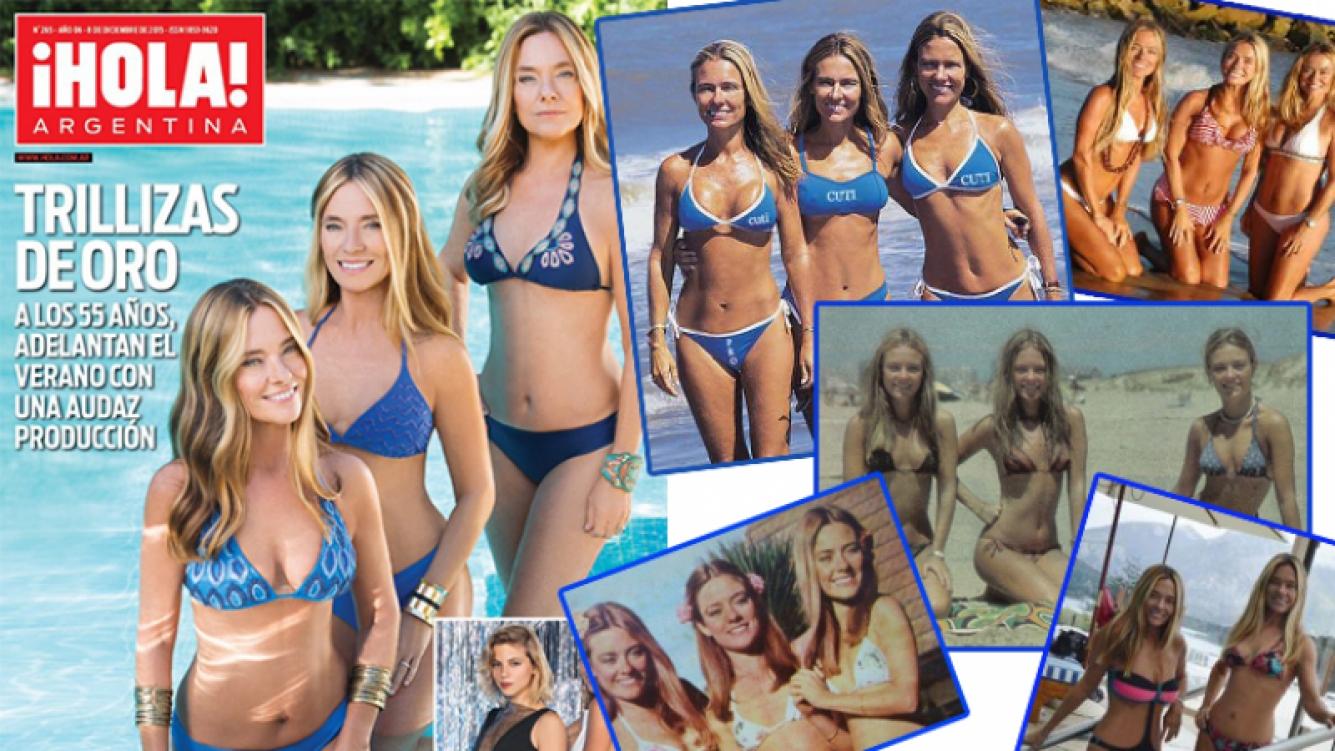 Las Trillizas, en bikini, con el pasar de los años. Fotos: Web y ¡Hola! Argentina.