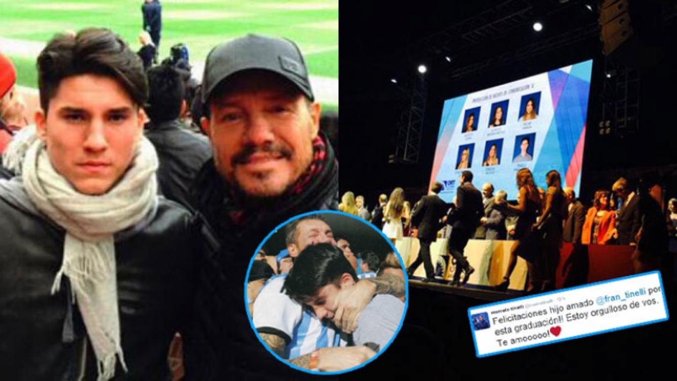 Marcelo Tinelli, orgulloso de su hijo Francisco (Fotos: Instagram y Twitter).