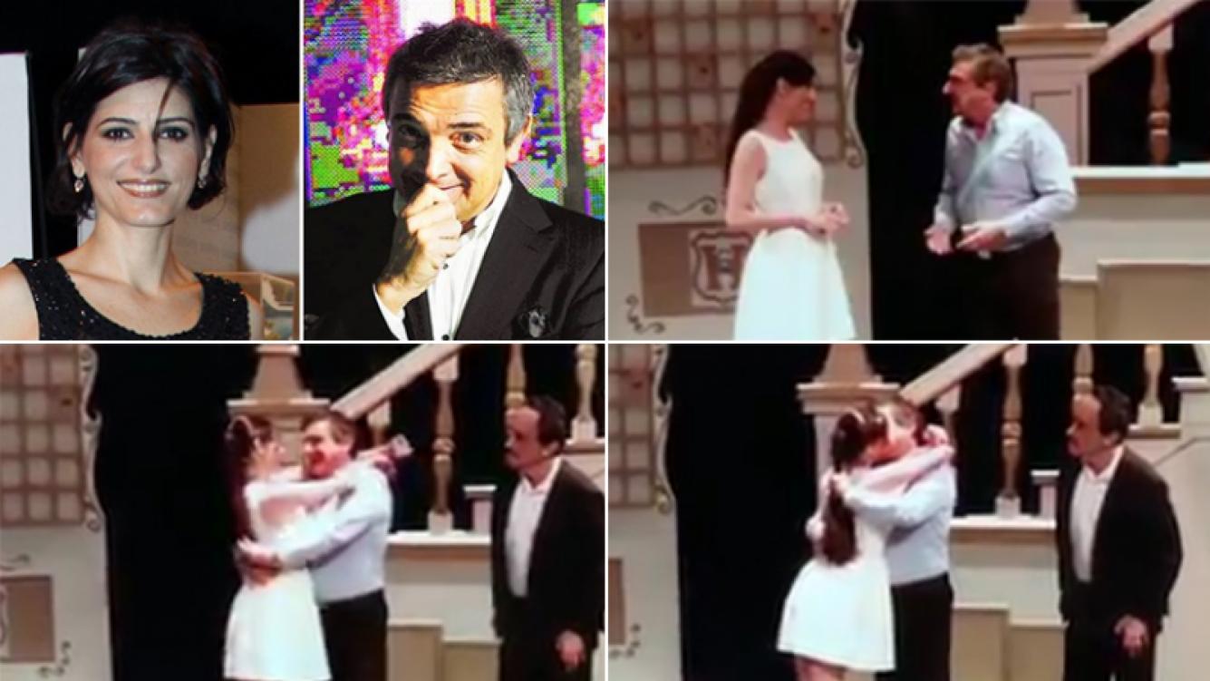 Nito Artaza y Cecilia Milone y su beso ¿de ficción? en el escenario. Fotos: Twitter y Web.