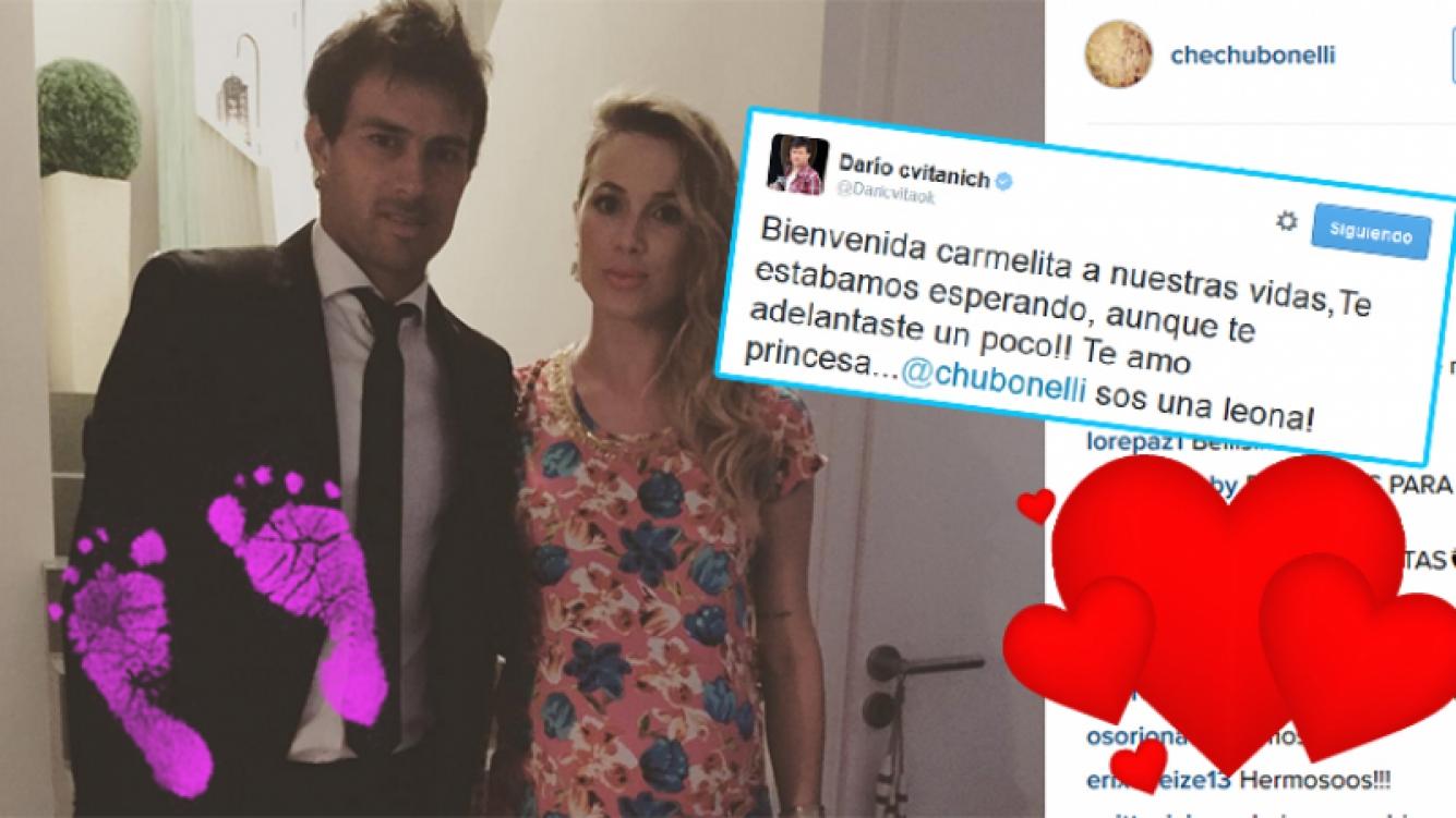 Chechu Bonelli y Darío Cvitanich fueron papás por segunda vez. Fotos: Twitter e Instagram.