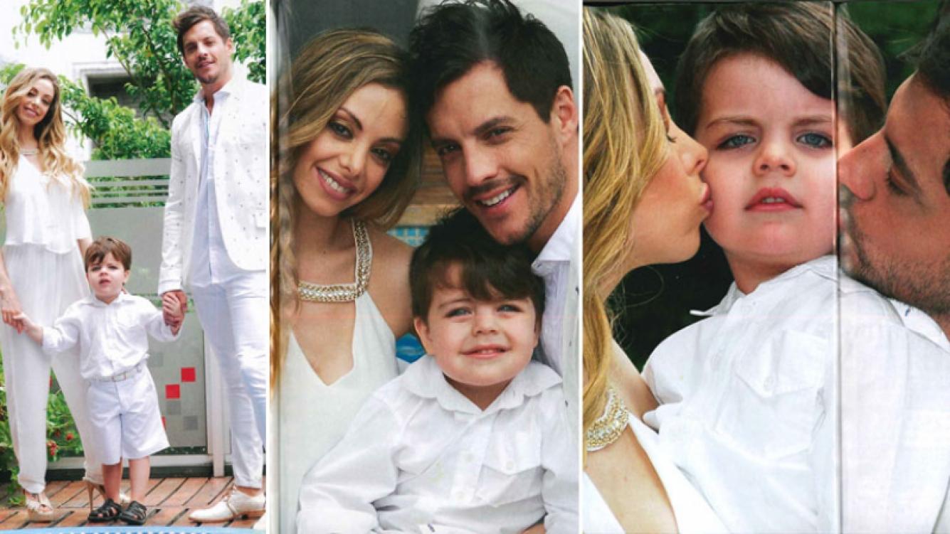 La primera producción familiar de Francisco Delgado y Gisela Bernal con su hijo. (Foto: revista Caras)