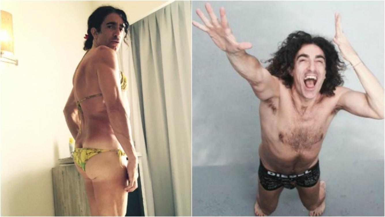 Favio Posca se calzó una bikini para darle la bienvenida a 2016. Foto: Twitter