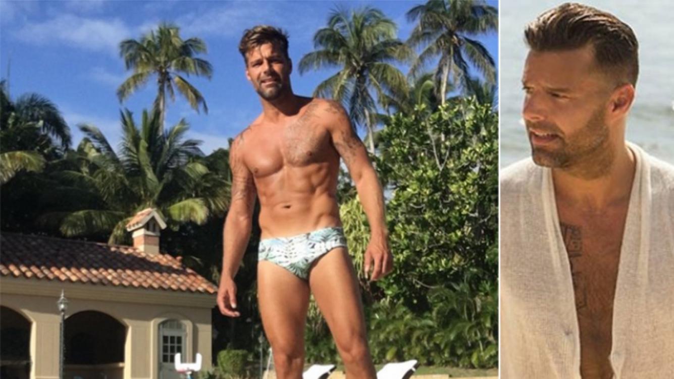 Ricky Martin mostró su lomazo a los 44 años. Fotos: Twitter y Web.