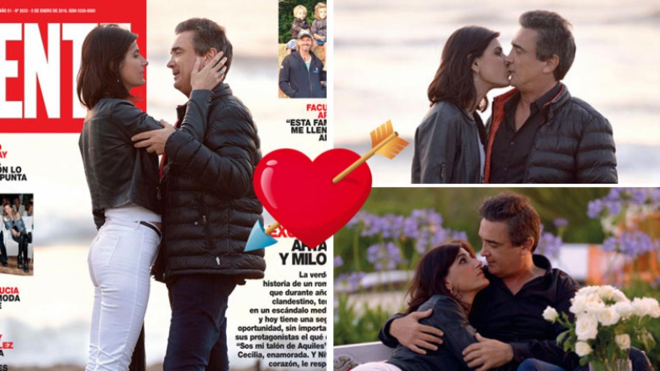 El romance entre Cecilia Milone y Nito Artaza en la tapa de Gente (Foto: Gente).