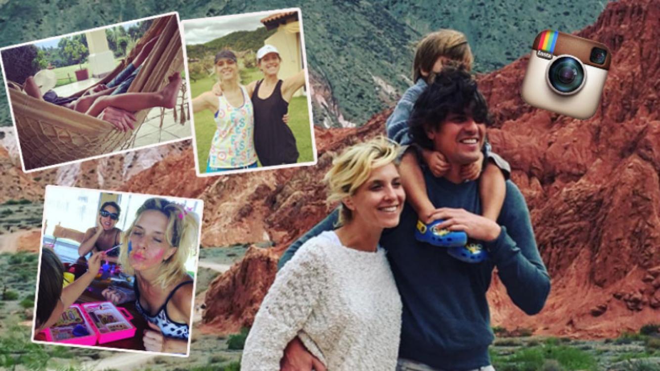 Carla Peterson, Lousteau y Gaspar, felices en el NOA (Fotos: Instagram).