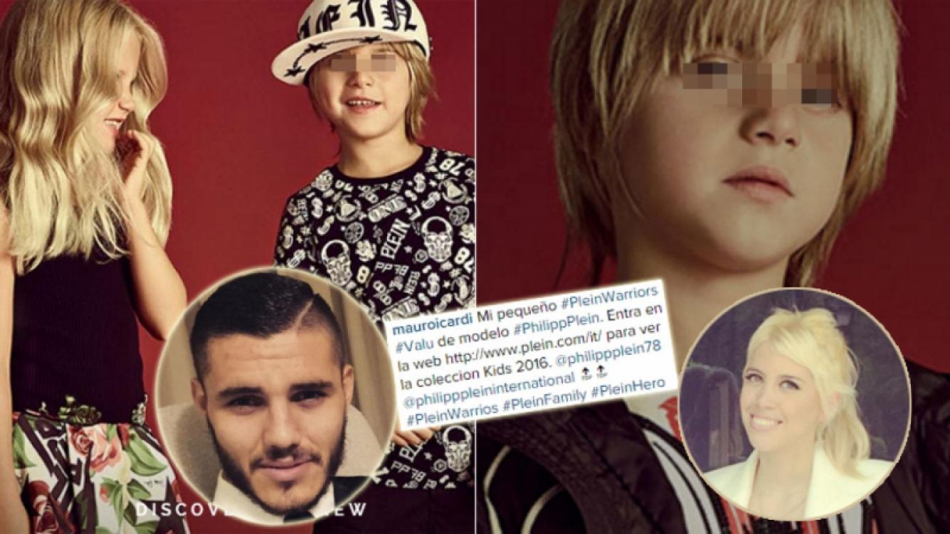 El hijo mayor de Wanda Nara debutó como modelo (Fotos: Instagram y Philipp Plein).