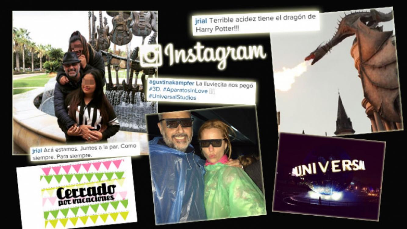Las postales de Jorge Rial, sus hijas y Kämpfer en los parques de diversión de Orlando. (Foto: Instagram)